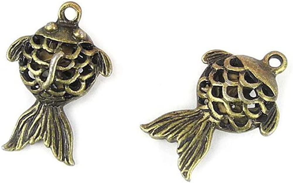 Popular OFFer brand in the world Jewelry Making Charms BV008 Hollow Bronze Retro Goldfish Ancient