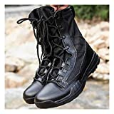 Training Combat Boots Military Steel Toe Police Patrol Boots Men High-top Desert Boots Outdoor Hiking Army Shoes Lace Up Short Boots,Black-43