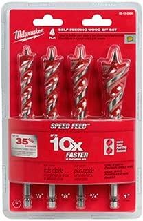 MILWAUKEE ELEC TOOL 48-13-0400 4Pc WD Bit Spd Feed Set,