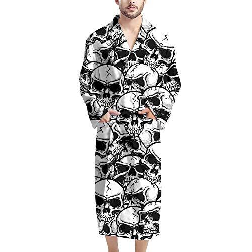 UOIMAG Herren-Bademäntel mit Tasche, gemütlicher Nachtwäsche, Bademantel Geschenk für Männer Gr. Einheitsgröße, totenkopf