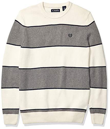 Chaps Men's Classic Fit Cotton Crewneck Sweater, Essex Cream Multi, XL