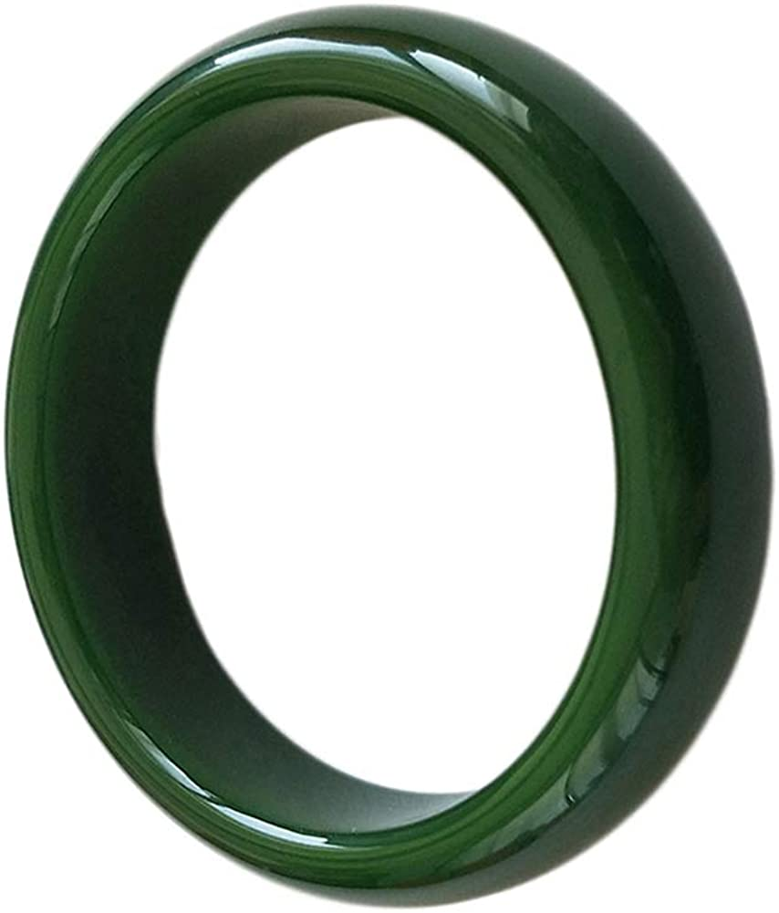 QJBMEI Chinese Green Jade Bangle Bracelet for Women, Widening and Thickening, H06-15