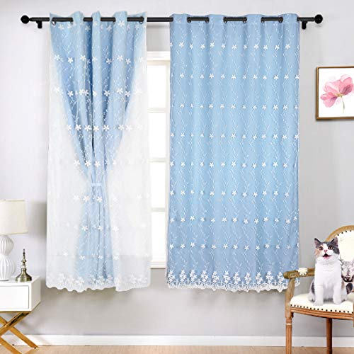 SearchI Blue Blackout Curtains Girls Bedroom Curtians Double Layer Light Blue Curtains for Bedroom, Kids Darkening Curtains Treatment Grommet Drapes for Kids Room 63 Inches Length, 1 Panel 42 x 63