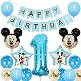 Decoraciones de Cumpleaños de Mickey Mouse, BESTZY 1er Cumpleaños Bebe Azul Globos Decoraciones de Fiesta Temática Azul de Mickey Globos de Confeti de Latex Boy