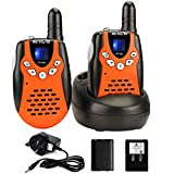 Retevis RT602 Kids Walkie Talkies 8 Channel PMR446 License Free Two Way Radio with Rechargeable Battery (Orange,1 Pair)
