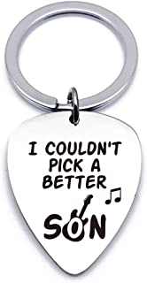 Son Gifts from Mom Dad - Stainless Steel Guitar Pick Keychain - Best Musician Gift Ideas for Son Graduation Birthday Valen...