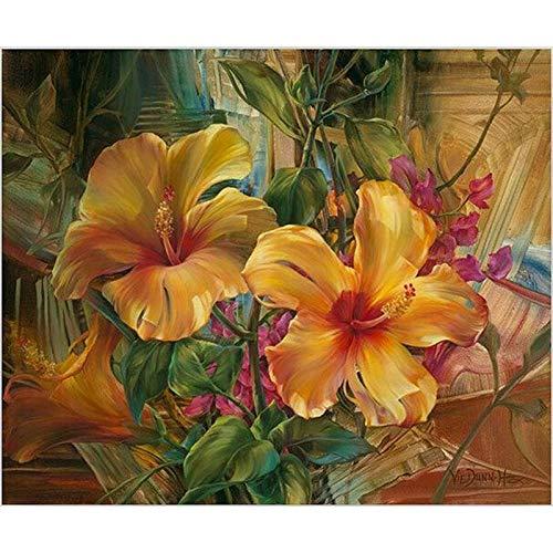 DIY pintura al óleo por números Oil Pinting digital naranja trompeta flor moderna pared arte lienzo pintura regalo único decoración del hogar-enmarcado,60x75cm