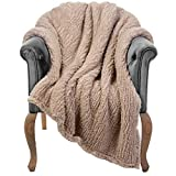 Throw Blanket for Couch - 50x60, Beige - Fuzzy, Fluffy, Plush, Soft, Cozy, Warm Fleece Blankets - Perfect Throws for Bed, Sofa, Couches