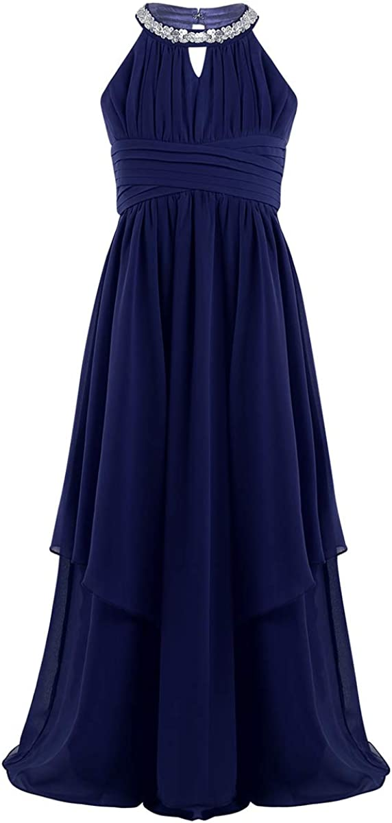 YOOJIA Kids Girls Sleeveless Pleated Flower Girl Dress Junior Bridesmaid Special Occasions Ball Gown Maxi Long Dress