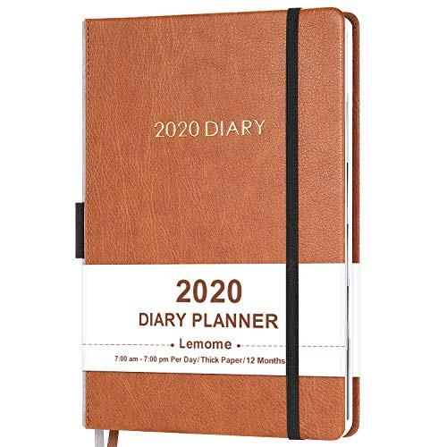 """2020 Diary Planner/Appointment Book 2020 - Diary 5-3/4"""" x 8-1/4"""" Daily Planner with Monthly Tabs, Gift Box/Inner Pocket/Pen Loop/Banded/Bookmarks"""