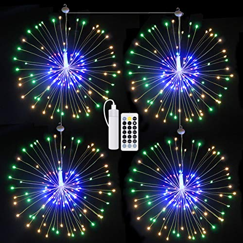 4 Packs Starburst Firework Lights, KOFOHO Led String Light 8 Modes Dimmable with Remote Control, USB Rechargeable Battery Operated Hanging Fairy Lights, Decorative Wire Lights for Christmas (Multi)