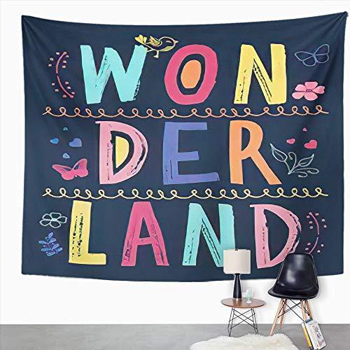 Y·JIANG Tapiz con cita de inspiración, diseño de mariposa, verano con texto en inglés 'Wonderland' y flores para el hogar, dormitorio, 152,4 x 127 cm