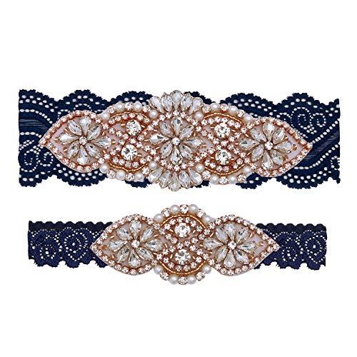 Yanstar Wedding Bridal Garter Belt Navy Stretch Lace Bridal Garter Sets With Rose Gold Rhinestones For Wedding