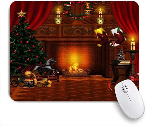 Dekoratives Gaming-Mauspad,Weihnachten Vintage Cottage Weihnachtsbaum Kamin Geschenke Socken,Bürocomputer-Mausmatte mit rutschfester Gummibasis