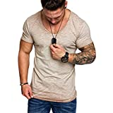 T Shirt Manche Courte Sport Musculation Hommes Été Tattoo Mode Coton Col en V Grande Taile Décontractée Svelte Top Blouse Pas Cher Swag