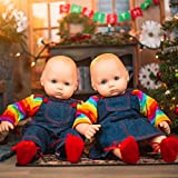 The Queen's Treasures Set of Two 15 Inch Doll Clothes for Bitty Twins Rainbow. Outfit Skirt & Overalls, 2 Shirt and 2 Pair Shoes. Compatible with American Girl Bitty Twins