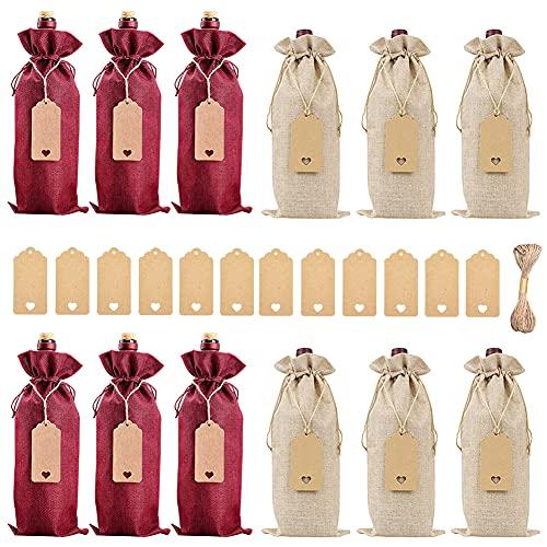 Bolsas de Vino de Yute, BESTZY 12 PCS Bolsa de Regalo Para Botella de Vino de Lino Bolsas de Vino Reutilizables con Cuerdas de Cordón y Etiquetas(Rojo y Marron)