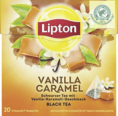 Lipton Schwarzer Tee (für einen aromatischen Teegenuss Vanille Karamell aus nachhaltigem Anbau) 3 x 20 Pyramidenbeutel