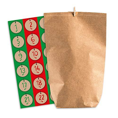Pajoma Adventskalender om te vullen Nordic Vintage 24 kraftpapieren zakjes cadeauzakjes Kerstmis, kerstkalender knutselset incl. stickers en klemmen