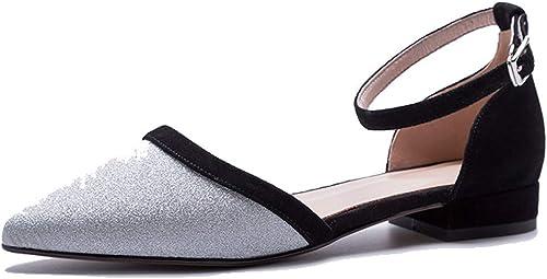 KOKQSX-Baotou Wild Chaussures rétro Pointu Paillettes Boucles à Fond Plat. Plat. Plat. Trente - Quatre argenté 368
