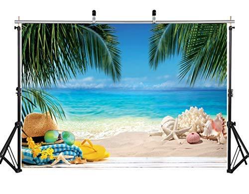 AIIKES 2.1Mx1.5M/7x5FT Tropical Playa Fotografía Fondo Hawai Verano Océano Cumpleaños Estrella Fiesta Fondo Cielo Azul Nubes Blancas Foto de Fondo Bebé Ducha Foto Fondos 11-545