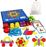 iLink Rompecabezas de Madera con Forma geométrica, Juguete de Tangram, Divertido Juguete Educativo, con 155 Piezas de Formas geométricas y 24 Tarjetas de diseño, Adecuado para niños de 3 4 5 6 7 años