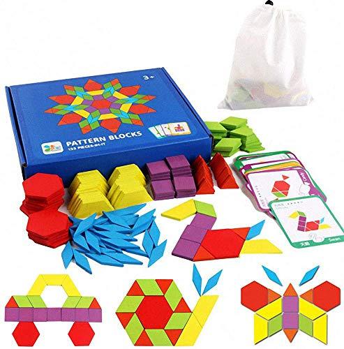 iLink Puzzle en Bois-Tangram-Jouets Montessori-Jouets éducatifs classiques-155 Formes géométriques et 24 Cartes de Conception pour Enfants adaptées aux Enfants de 3 4 5 6 7 Ans
