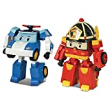 Robocar Poli 2 Pack Poli + Roy Transforming Robot, 4' Tramsformable Action Toy Figure
