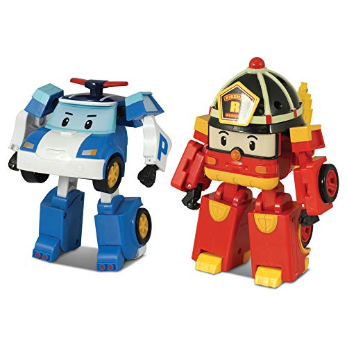 [2 Pack] Robocar Poli Poli + Roy Transforming Robot, 4' Tramsformable Action Toy Figure Exclusive