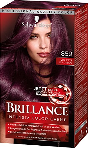 Schwarzkopf Brillance Intensiv-Color-Creme, 859 Violette Wildseide Stufe 3, 3er Pack (3 x 143 ml)