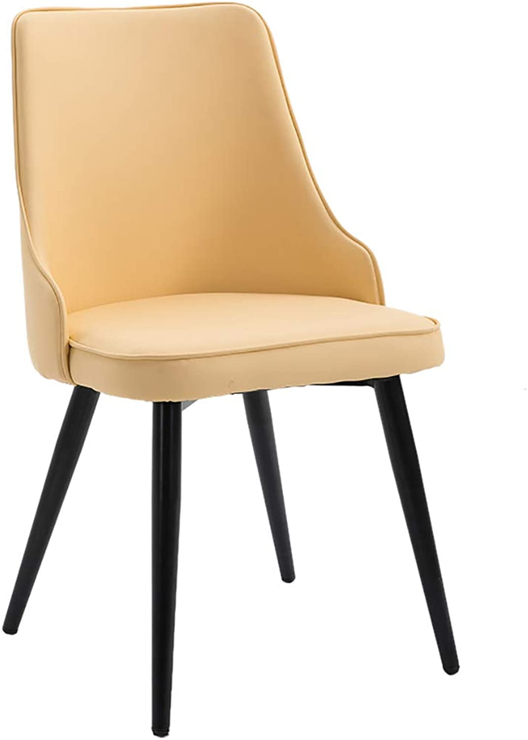 Nordic Wrought Iron Leather Dining Chair, Modern Minimalist Home Adult Lounge Chair, Ergonomic Design, for Restaurant Office Counter Family