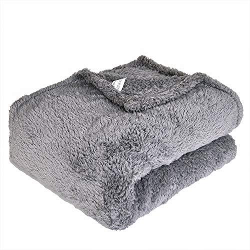EHC Tagesdecke Polar Super Soft Fleece-Überwurf Thermo Sofa Decke, Grau, Single, 130x 210cm