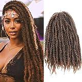3 Packs Afro Kinky Marley Twist Braiding Hair Kanekalon Marley Hair 18inch Long Marley Hair Crochet Hair Extensions (T1B-30#)