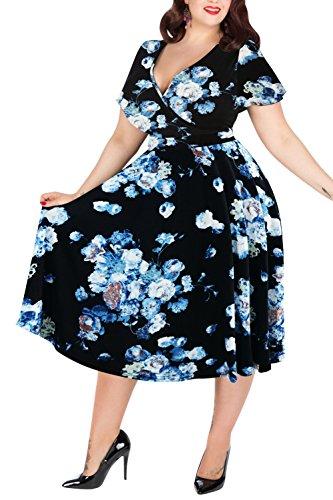 Nemidor Women's V-Neckline Stretchy Midi Plus Size Casual Dress (16W, White-Print)