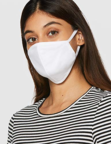 FM London Accessories Reusable Fabric Face Mask, White, One Size (Pack of 50)