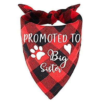 easycozy Promoted to Big Sister Red Plaid Dog Bandana, Gender Reveal Photo Prop Triangle Pet Scarf Scarves Decorations Accessories, Pet Scarves Dog Lovers Owner Gift