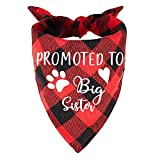 family Kitchen Promoted to Big Sister Red Plaid Dog Bandana, Gender Reveal Photo Prop Triangle Pet Scarf Scarves Decorations Accessories, Pet Scarves Dog Lovers Owner Gift