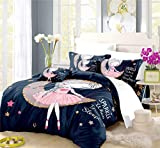REALIN Cute Princess Style Series Duvet Cover Set Girl Bedding Pink Black Bed Sets 2/3/4PCS Quilt Covers/Sheets/Pillow Shams,Twin/Full/Queen/King (C,Twin-172x218cm-4PCS)