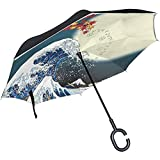Paraguas Inverso Bill Nye The Science Guy Paraguas Invertido Reversible para Golf Coche Viaje Lluvia Al Aire Libre