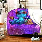 Baby Yoda and Stitch Blanket Super Soft Warm Solid Blanket Sofa Bedding Blanket Flannel Bed Sofa and Living Room for Kids Adults 50'x40'