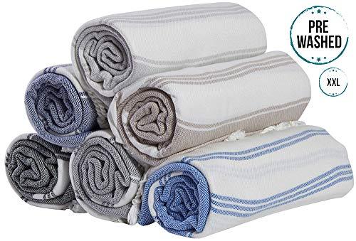BOSPHORUS (Set of 6) XXL 100% Turkish Cotton Bath Beach Hammam Towel Peshtemal Throw Foua Blanket Set (Multi4)