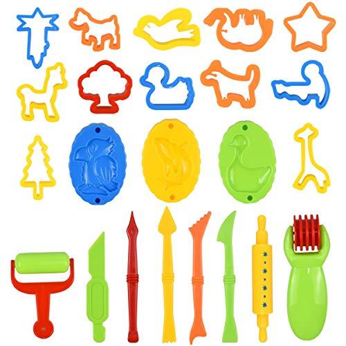 Fodlon Strumenti per Plastilina, 26 Pezzi Argilla e Pasta Modelli Accessori per Impasti per Bambini Pasta in Plastica Stampi per Cucina Set di Utensili per Plastilina Regalo Fai da Te Ragazze
