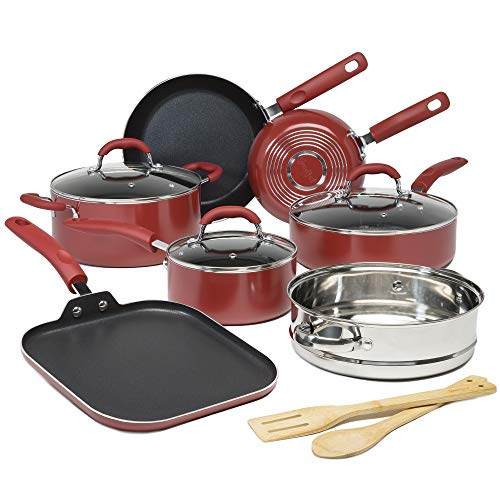 Goodful Premium Non-Stick Cookware Set, Dishwasher Safe Pots and Pans, Diamond Reinforced Coating, Made Without PFOA, 12-Piece, Red