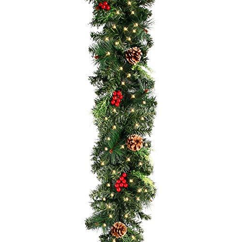 78Henstridge 180cm Weihnachtsgirlande Künstliche Tannengirlande mit Lichterkette,Tannenzweiggirlande Weihnachtsdeko Innen- und Außendekoration (Stil A)