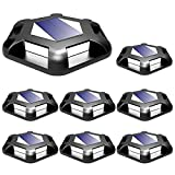 T-SUN Solar Deck Lights Driveway Dock Led Lights Solar Powered Outdoor Waterproof Warning Step Lights Road Markers for Pathway Step Stair 8 Pack (White)