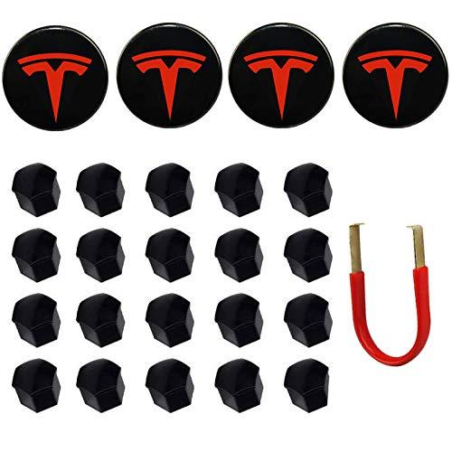Emblema de Cubierta de Rueda de Coche RS para Tesla Model 3, S & X Juego de Tapa de buje Kit de Tapa de buje (4 Tapas de buje + 20 Cubiertas de Tuerca de Rueda) (Blanco)