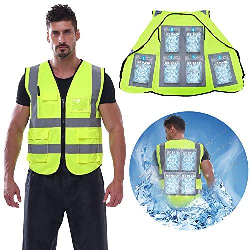 Cooling Safety Vest with 6 Ice Packs Reflective Vest with Pockets high visibility vest for Men...