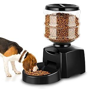 Amzdeal Comedero Automático Gatos y Perros 5.5L, Alimentador de Mascotas con Pantalla LCD, Dispensador con Función de Grabación 13
