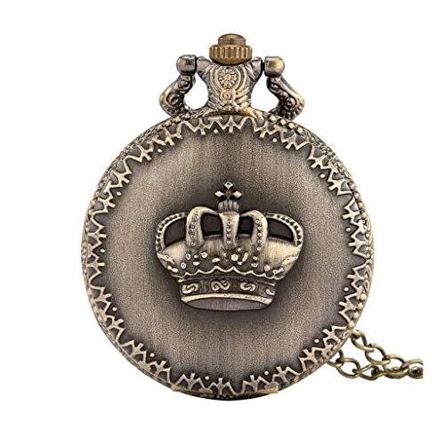 GANFANREN Display a corona Collana in bronzo Pendente Orologio da tasca Catena maglione Orologio da tasca Collezione Orologi antichi Regali Uomo Donna Bambini