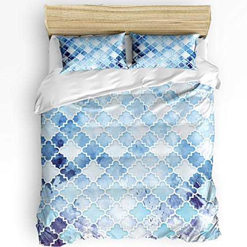 Queen Area 3 Pcs Full Duvet Cover Set - Classic Modern Vintage Chic Aqua Moroccan in Watercolor Soft Breathable Bedding Set with Zipper Closure and 2 Pillow Shams (Not Including Comforter)
